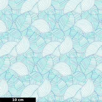 Tissu patchwork feuilles turquoises - Carnivale blue