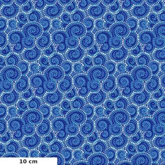 Tissu patchwork spirales bleu saphir - Carnivale blue