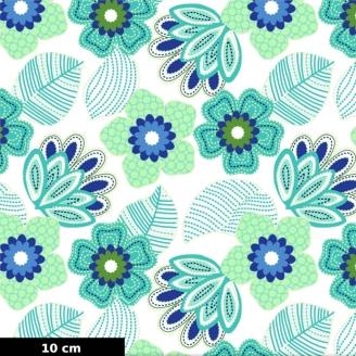 Tissu patchwork grandes fleurs turquoise/vert fond blanc - Carnivale blue