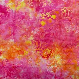 Tissu Batik fleurs en ton sur ton jaune fuchsia - Autentiks Batiks