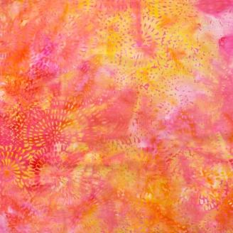 Tissu Batik dahlia en ton sur ton fuchsia orange - Autentiks Batiks