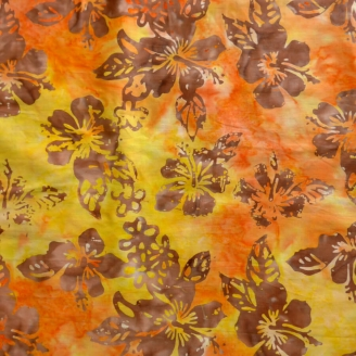 Tissu Batik hibiscus marron fond orange - Autentiks Batiks