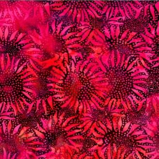 Tissu batik tournesols fond fuchsia violet
