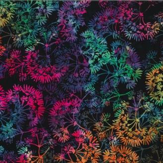 Tissu batik fleurs de jasmin multicolores fond noir