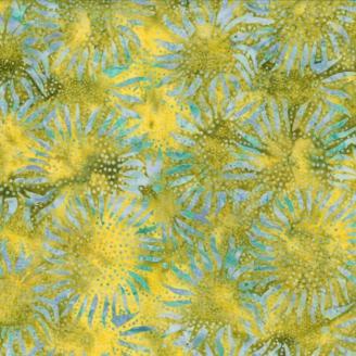 Tissu batik tournesols bleu-mauve fond vert