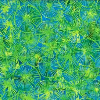 Tissu batik nénuphars vert et turquoise