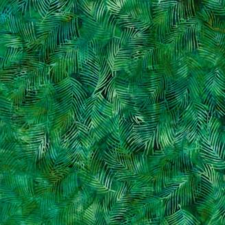 Tissu batik fougères vert foncé