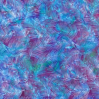Tissu batik fougères bleues fond violine