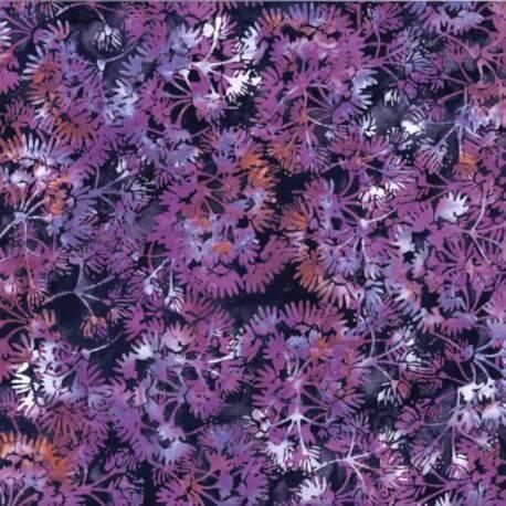 Tissu batik fleurs de jasmin violine