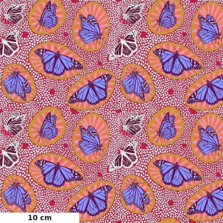 Tissu patchwork papillons monarques bleus fond rouge