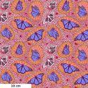 Tissu patchwork papillons monarques bleus fond rouge - One mile radiant. d'Anna Maria Horner