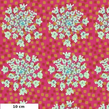 Tissu patchwork grandes fleurs Queen Anne fond fuchsia - One mile radiant d'Anna Maria Horner
