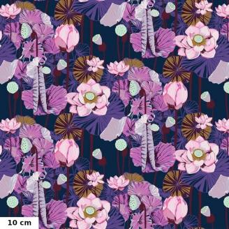 Tissu patchwork Lotus roses fond bleu - One mile radiant d'Anna. Maria Horner