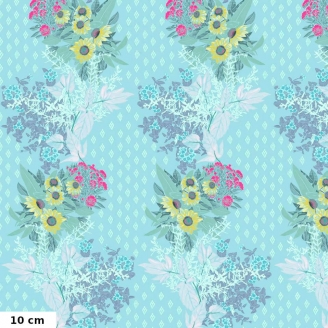 Tissu patchwork haies de fleurs fond bleu ciel - One mile radiant d'Anna Maria Horner