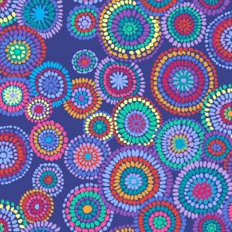 Tissu patchwork Kaffe Fassett Mosaic circles fond violet GP176