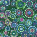 Tissu patchwork Kaffe Fassett Mosaic circles fond vert forêt GP176