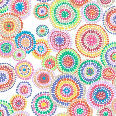 Tissu patchwork Kaffe Fassett Mosaic circles fond blanc GP176