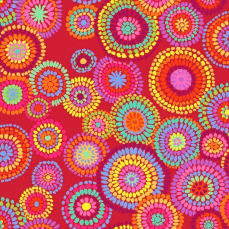 Tissu patchwork Kaffe Fassett Mosaic circles fond rouge GP176