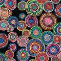 Tissu patchwork Kaffe Fassett Mosaic circles fond noir GP176