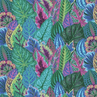 Tissu Philip Jacobs feuilles Coleus Turquoise PJ030