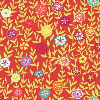 Tissu Kaffe Fassett fleurs grimpantes fond rouge Busy Lizzy GP175