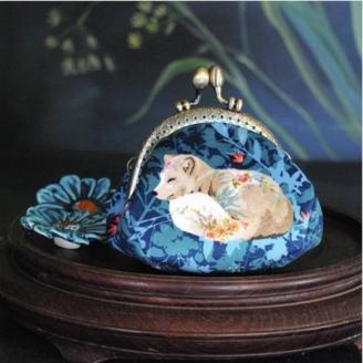 Porte-monnaie Land Art bleu - kit de couture