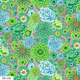 Tissu Kaffe Fassett grandes fleurs Enchanted fond vert GP172