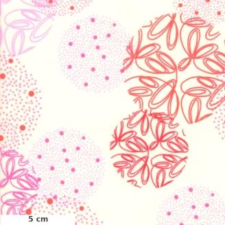 Tissu patchwork sphères fantaisie rouges fond écru - Just Red de Zen Chic