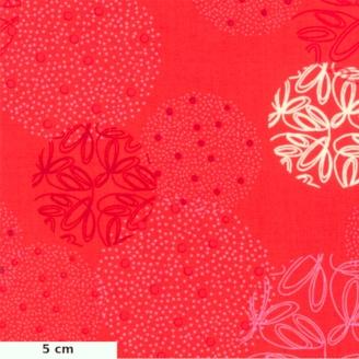 Tissu patchwork sphères fantaisie fond rouge cayenne - Just Red de Zen Chic