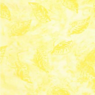 Tissu batik feuilles ton sur ton jaune poussin