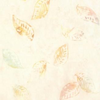 Tissu batik feuilles ton sur ton beige