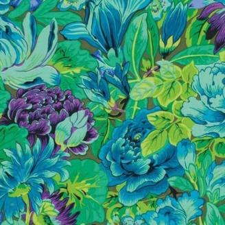 Tissu Philip Jacobs grandes fleurs Lavinia vertes PJ064
