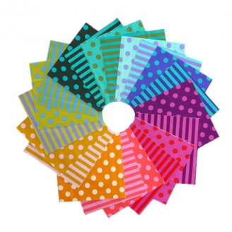 Charm pack de tissus à pois et rayures Tula Pink