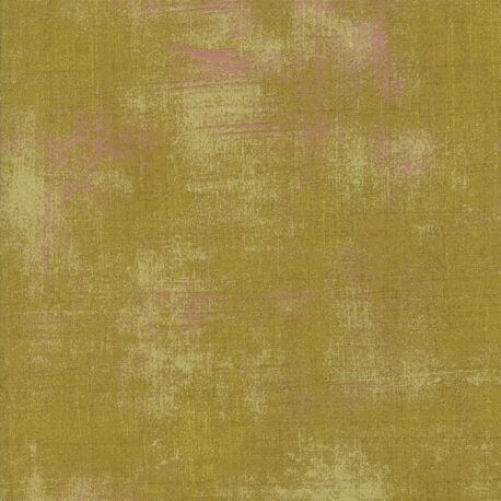 Tissu patchwork faux-uni patiné vert feuille - Grunge de Moda