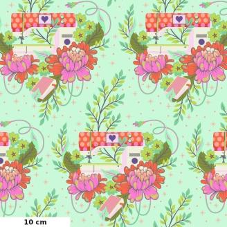 Tissu patchwork machine à coudre vert d'eau - Homemade de Tula Pink