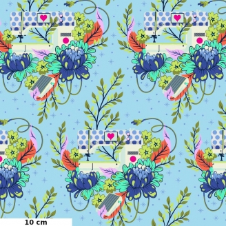 Tissu patchwork machine à coudre bleue - Homemade de Tula Pink