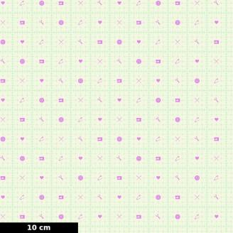 Tissu patchwork graduations en inches vert jade - Homemade de Tula Pink