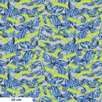 Tissu patchwork rubans verts et feuilles bleues fond gris - Homemade de Tula Pink