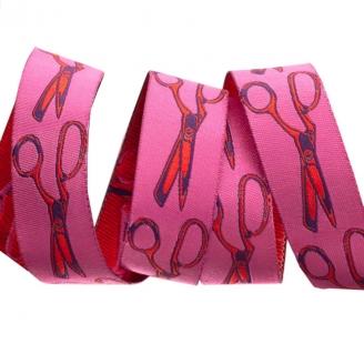 Ruban Tula Pink ciseaux de couture rouges fond rose - Homemade (par 10 cm)