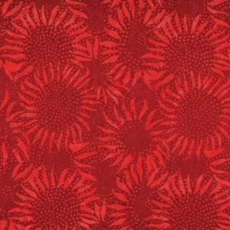 Tissu batik tournesols rouge cerise