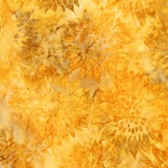 Tissu Batik tournesols jaune ocre