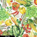 Tissu patchwork légumes du maraîcher fond blanc - Down on the farm