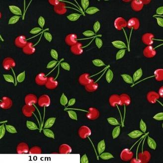 Tissu patchwork cerises fond noir - Fruit basket