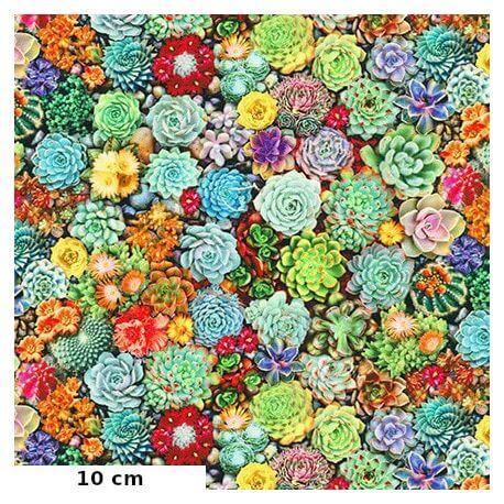 Tissu patchwork plantes grasses - The potted garden
