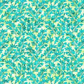 Tissu patchwork feuilles turquoises - Kashmir