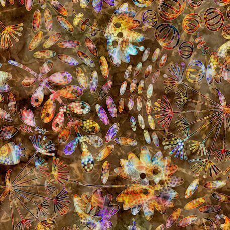 Tissu patchwork herbier multicolore fond brun - Botanical