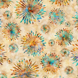 Tissu patchwork explosion de couleurs fond crème - Botanica