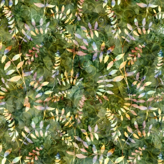 Tissu patchwork plante grimpante fond vert - Botanica