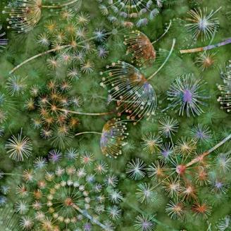 Tissu patchwork pissenlits fond vert - Botanica