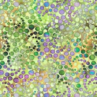 Tissu patchwork bulles vertes et violettes - Botanica